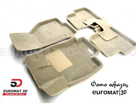 Текстильные 3D коврики Euromat3D Business в салон для Cadillac SRX (2003-2009) № EMC3D-001303T Бежевые