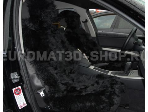 Меховая накидка из натуральной овчины Euromat Tex (цельная не стриженная ) черная № EUSH-003000