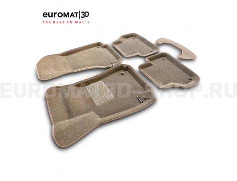 Текстильные 3D коврики Euromat3D Business в салон для Audi A4 (2016-) № EMC3D-001102T Бежевые